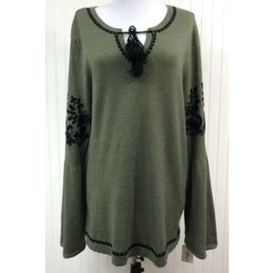 Style & Co. NWT Sweater Blouse V-Neck L/S  Green